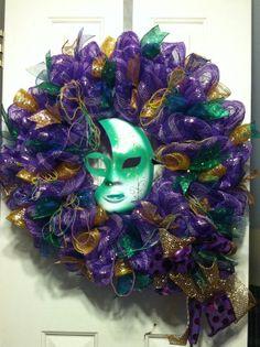 Large Mesh Wreath Mardi Gras Mask Green by DesignTwentyNineSC, $72.50 Wreaths For Sale, Mesh Wreaths, Mobile Mardi Gras, Mardi Gras Wreath, Green And Gold, Centerpieces, Crafty, Halloween, Purple