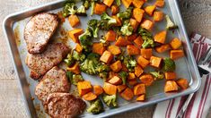 Sheet-Pan Honey-Balsamic Pork Chop Dinner - A sweet-and-savory glaze on the pork chop is paired with crisp-tender broccoli and roasty sweet potatoes. Balsamic Pork Chops, Pan Pork Chops, Pork Chop Dinner, Sheet Pan Suppers, Chops Recipe, Pork Chop Recipes, Potato Recipes, Chicken Recipes, Pork Dishes