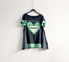 Image of Black Tunic Shirt Boho Chic Clothing Green Heart Top Unique Upcycled Women's Clothes L/XL