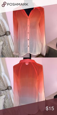 Daytrip orange ombré button down Daytrip orange ombré button down. Sheer Daytrip Tops Button Down Shirts