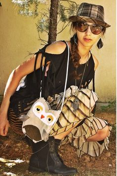 """Black Feather Accessorize Earrings, Black Boots, Off White Owl Diy Bags 