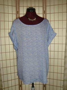 New WT Kohl's Apt. 9 Sz XL Blue & White Scoop Neck W/ Turn Up Sleeves Top #Apt9 #CuffSleeveTank