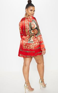 a2ee741988c Plus Red Printed Satin Long Sleeve Wrap Dress