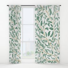 Green Leaf Pattern Window Curtains by Chotnelle Leaf Curtains, Curtains For Sale, Yellow Walls, Master Bedroom Design, Printed Shower Curtain, Home Decor, Curtains, Window Curtains, Drapes