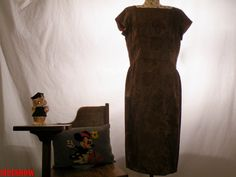 Early 1960's Mocha Brown Rose Brocade Mad Men Style by sideshowsam, $56.00