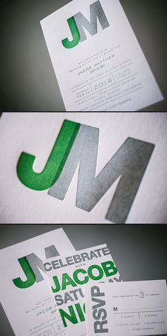 Modern letterpress Bar Mitzvah invitations with a cool monogram