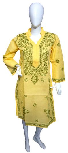 Self Design Lucknowi Chikankari Kurti List price: Rs1199   Rs590 You save: Rs609 (51%)  Specifications . Fabric: 100% Cotton . Self Design Chikankari . Color : Yellow