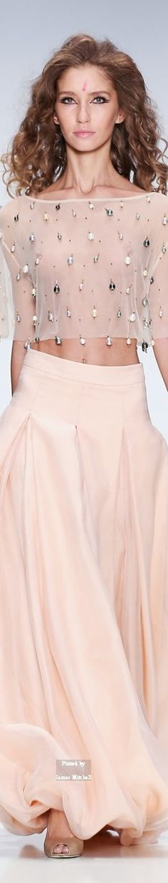 Ma Ya Collection  ~ Spring sheer cropped top w full pleasted Maxi skirt, 2015 Moscow-   ~LadyLuxuryDesigns