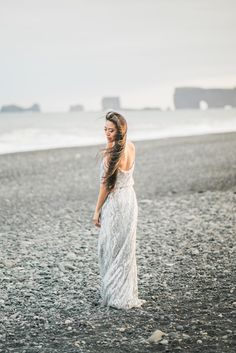 Beautiful black sand beach shoot in Iceland. Credits: Event Design & Planning-Phoebe Lo Events, Photography-Rhythm Photography
