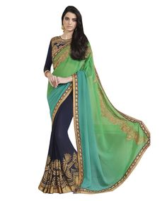 Buy Now Green-Navy Blue Embroidery Work Georgette Half-Half Fancy Saree only at Lalgulal.com. Price :- 2,552/- inr. To ‪#‎Order‬ :- http://goo.gl/kaItFm To Order you Call or ‪#‎Whatsapp‬ us on +91-95121-50402 COD & Free Shipping Available only in India.