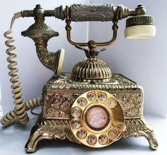 Antique Gold Rotary Telephone