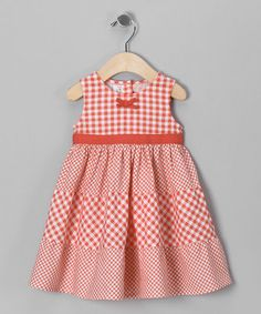 Peach Gingham Sundress - Infant, Toddler & Girls