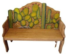 Image detail for -Cactus Hand Painted Rustic Solid Wood Bench Recycled Wood Furniture, Hand Painted Furniture, Funky Furniture, Home Furniture, Painted Desks, Girls Furniture, Distressed Furniture, Furniture Ideas, Rustic Living Room Furniture