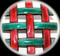 Arts and Craft Enamel Button  Large by KPHoppe on Etsy