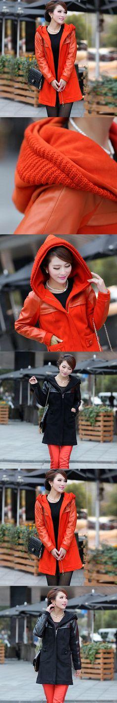 Plus Size XL-4xl 5xl 6xl Women Jacket Autumn Style New Fashion Patchwork PU Cotton Coat Hoodie Sweatshirt  Casual dress vestidos