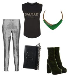 """""""Untitled #718"""" by crazybookladysuzejn ❤ liked on Polyvore featuring Iris & Ink, Balmain, Miu Miu and Monet"""