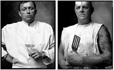 "Mark Laita - ""FRENCH CHEF, AND A SHORT ORDER COOK"". (One photo in a series called ""Created Equal"")... ""In America, the chasm between rich and poor is growing, the clash between conservatives and liberals is strengthening, and even good and evil seem more polarized than ever before. At the heart of this collection of diptychs, is my desire to remind us that we were all equal, until our environment, circumstances, or fate, molded and weathered us into whom we have become"" ~ Mark Laita"