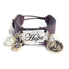 "Accessory Accomplice Goldtone Engraved ""Hope"" Cross Charm Brown Leather Cuff Bracelet Accessory Accomplice http://www.amazon.com/dp/B00HXJS47C/ref=cm_sw_r_pi_dp_gW4.tb1SQ5EVS"