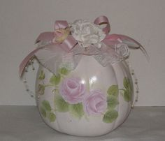 Items similar to Hand Painted Pumpkin with Pink Roses Faux white Pumpkin on Etsy Pink Halloween, Pink Pumpkins, Painted Pumpkins, Pink Roses, Hand Painted, Unique Jewelry, Handmade Gifts, Etsy, Vintage