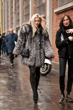 There is no better way to show off your shapely legs than to wear a silver fox stroller! :)  Best-Dressed Street Style at Milan Fashion Week Fall 2013 | #MFW