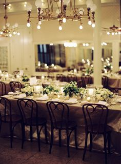Elegant Wedding Reception - love the lighting and muted colors