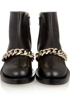 Givenchy | Black leather ankle boot with metal chain  | NET-A-PORTER.COM