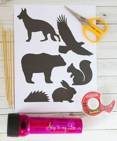 Animal Shadow Puppets DIY Animal Silhouettes for Shadow Puppets - My kids are going to love these!DIY Animal Silhouettes for Shadow Puppets - My kids are going to love these! Forest Animal Crafts, Forest Crafts, Animal Crafts For Kids, Animal Projects, Forest Animals, Animal Activities, Craft Activities For Kids, Preschool Crafts, Shadow Theme