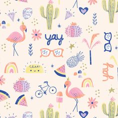 Leading Illustration & Publishing Agency based in London, New York & Marbella. Illustration Inspiration, Pattern Illustration, Graphic Design Illustration, Flamingo Logo, Flamingo Print, Kids Prints, Fun Prints, Surface Pattern Design, Pattern Art