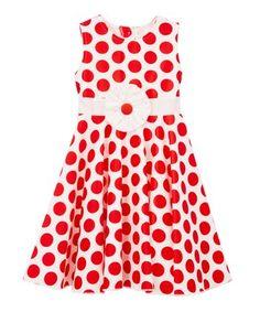White & Red Polka Dot Dress - Toddler & Girls