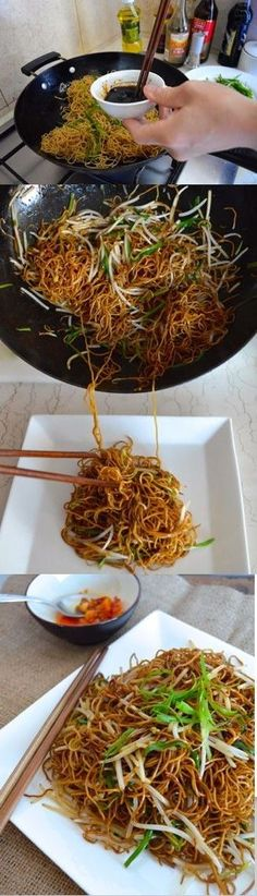 Cantonese Soy Sauce Pan Fried Noodles ~ Authentic Chinese recipes would never be so simple and yummy at the same time.