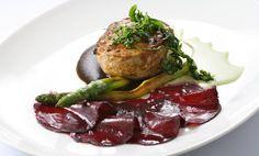 telecí steak s chřestem