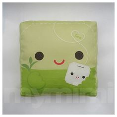 "Tea Pillow, Green Leaf Tea, Tea Party, Decorative Pillow, Green Pillow, Cushion, Kawaii, Home Decor, Room Decor, Childrens Toys, 7 x 7"""