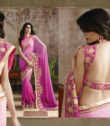 Buy Pink and Fuchsia embroidered georgette saree with blouse Online