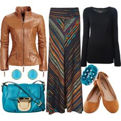 """Maxi skirt for fall"" by emmafazekas on Polyvore...I am so obsessed with maxi skirts...and I am really enjoying bold colors with neutrals for the fall...chances are there is something in my closet that would create an inspired look..."