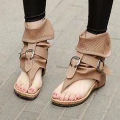 Shoespie New Arrival Solid Color Cut-out Buckle Flat Sandals