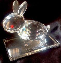 HSBC Bank Crystal Rabbit Chinese Zodiac Faceted Hong Kong Shanghai Banking Noble