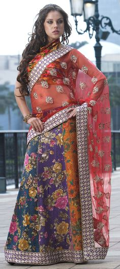 149457: GRAPHIC BRIDE - This #lehenga-saree has digital roses in prints. Like it? Order for your wedding!  #Bridalwear #weddingcouture #sale #Onlineshopping #Floral #ethnicwear #indianwedding #partywear #women #fashion #trends2015