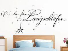 Schlafzimmer... Wandtattoo Paradies für Langschläfer