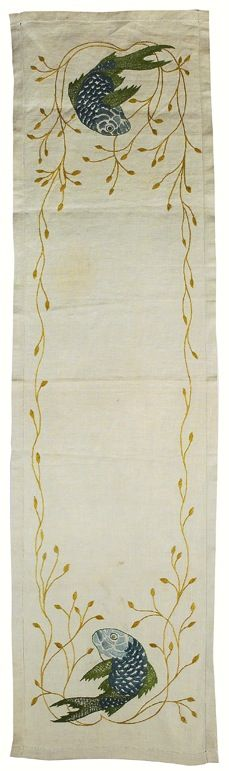 "Arts & Crafts runner, finely detailed embroidered fish and vines, finished edges, 18""w x 66""l  