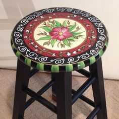 "24"" Hand Painted Custom Round Top Wooden Bar Stool - Counter Stool - Chair custom made by Michele Sprague Designs"