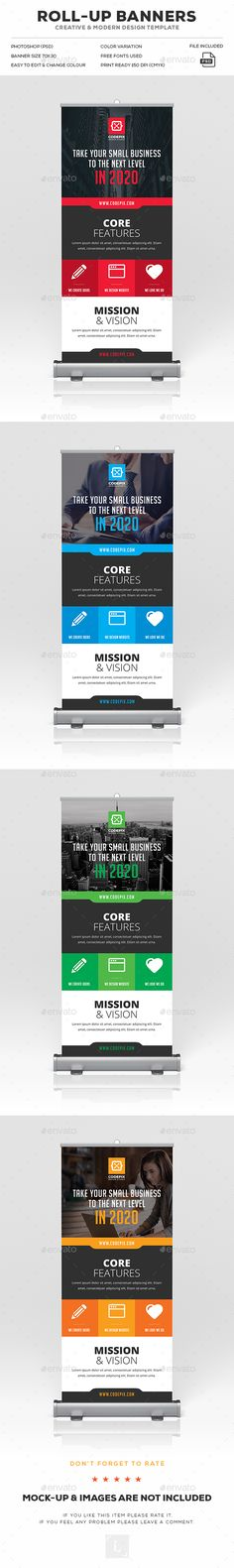 Roll-Up Banner Ads Design Template - Signage Print Template PSD. Download here: https://graphicriver.net/item/rollup-banner/17029771?s_rank=3&ref=yinkira
