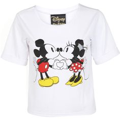 Miss Selfridge Mickey and Minnie Heart Tee ($21) ❤ liked on Polyvore featuring tops, t-shirts, shirts, disney, white, oversized white tee, polyester shirt, tee-shirt, white t shirt and crop top