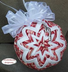 Quilted Ornament with Charm 3 Candy Cane by WinterberryOriginals