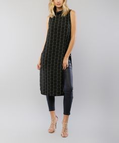 Another great find on #zulily! Lumière Black & White Windowpane Mock Neck Tunic by Lumière #zulilyfinds