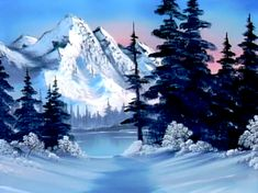All the colors needed to do the painting 'Winter Mountain' from 'The Joy of Painting' with Bob Ross. Ice Painting, The Joy Of Painting, Winter Painting, Bob Ross Youtube, Robert Ross, Winter Mountain, Bob Ross Paintings, Elements Of Nature, Mountain Paintings