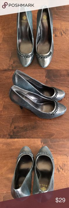 Isola  heeled shoes Metallic grey size 7 1/2. Very cute and goes with many outfits silver metallic grey heels by Isola worn only several times.  Very comfortable, Isola Shoes Heels