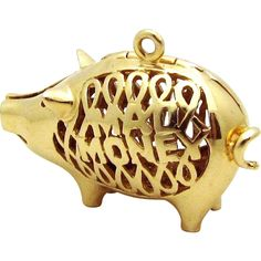 Vintage 14K Gold 3D LARGE Mad Money Piggy Bank/ Pig Charm 10 grams from charmalier on Ruby Lane