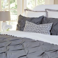 Valencia Charcoal Gray Pintuck Duvet Cover + Throw Pillow. Love it!
