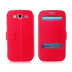 Neu Kunstleder Flip Schutzhülle Hülle für Samsung Galaxy S3 I9300 (Rot)