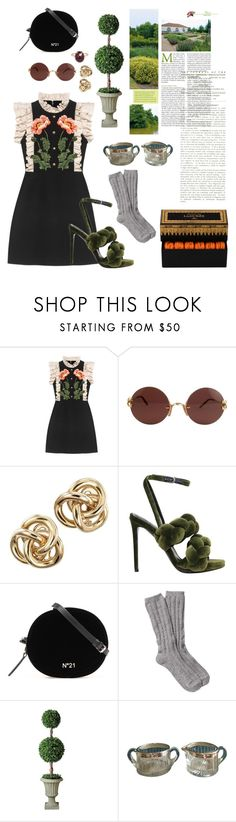 """""""Garden party"""" by mothguru ❤ liked on Polyvore featuring Gucci, Cartier, Marco de Vincenzo, UGG, Improvements, Andrea Fohrman and Vanity Fair"""